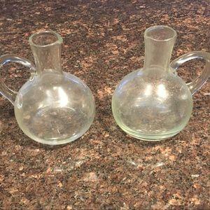 Vintage Glass oil  and vinegar serving set